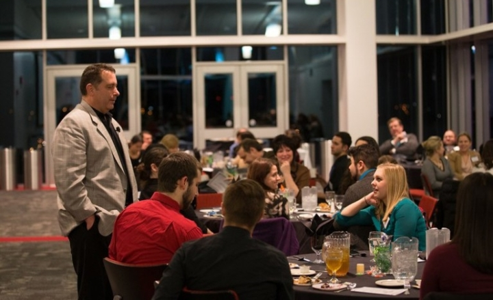 John Maroon talking to York College student and PRSA Central PA members. Photo credit to PRSA Central PA Chapter.